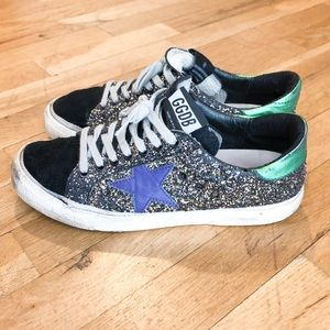 Golden Goose GGDB May black gold glitter sneakers